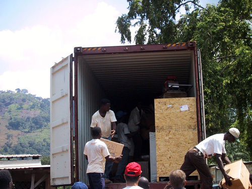 Unloading the shipment of Bibles