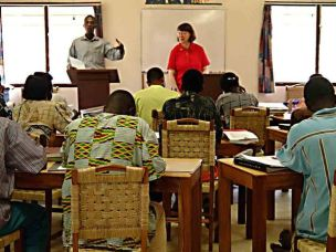Dr. Baker, visiting professor, teaches nursing class