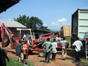 Unloading a container of supplies