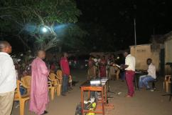 Worship time at the Dagbuipe neighborhood evangelism outreach