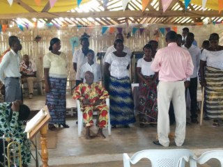 Pastor Jeremie and Pastor Togbe with Baptism class members