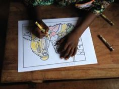 Coloring a Bible story picture