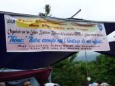Banner above the platform